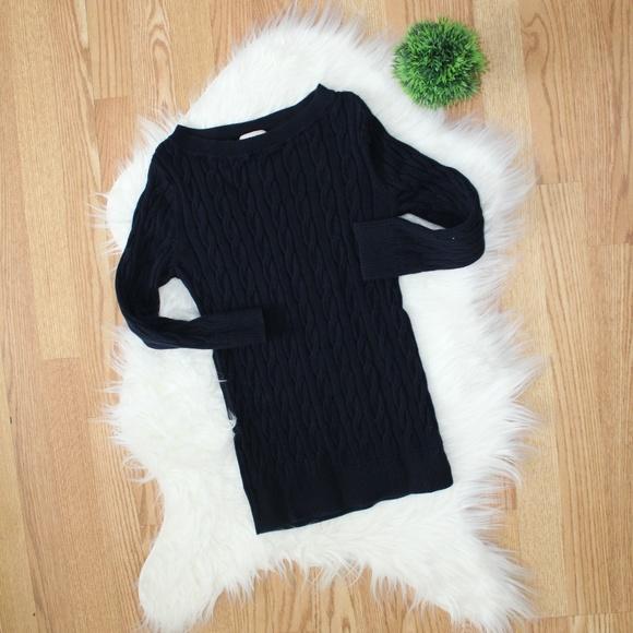 Loft Navy Cable Knit Sweater XS EUC
